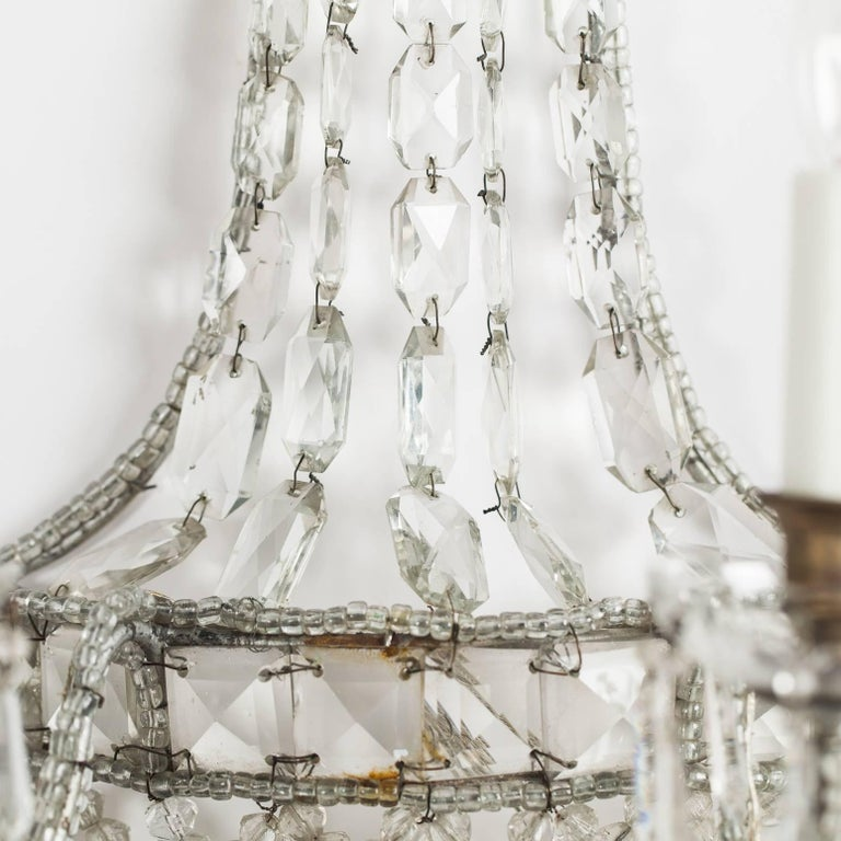 Pair of Antique French Crystal Sconces, circa 1920 4