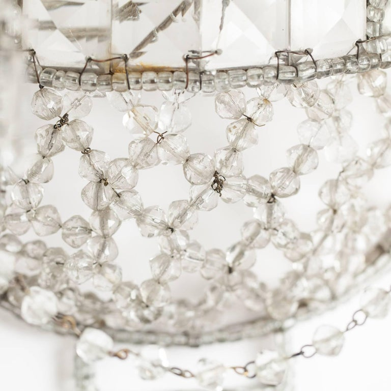 Pair of Antique French Crystal Sconces, circa 1920 7