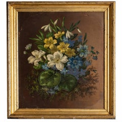 Late 19th Century English Oil on Board of Flowers