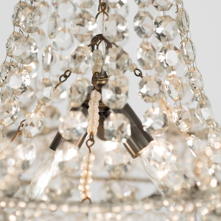 Small French Crystal Chandelier, circa 1900 In Excellent Condition For Sale In New Preston, CT