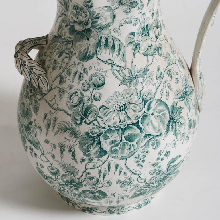 French Green Floral Pitcher, circa 1880 In Good Condition For Sale In New Preston, CT