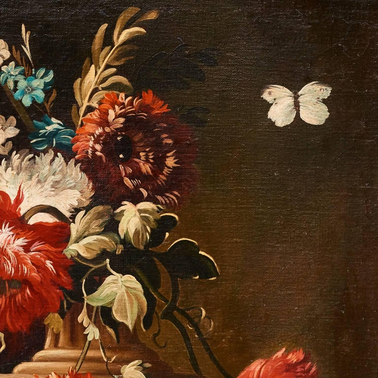 19th Century Italian Oil on Canvas Still Life of Flowers and Fruit, circa 1880 For Sale
