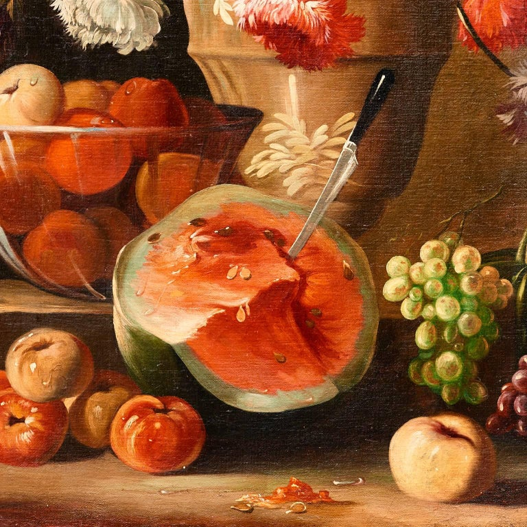 This handsome still life in the tradition of the 17th century masters, depicts beautifully executed poppies, melons, grapes, and apples, on a stone ledge with a dramatic watermelon and a knife embedded in the fruit. It hangs in a black frame of the