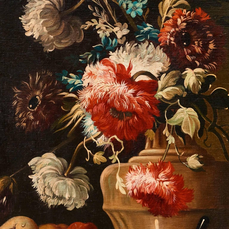 Italian Oil on Canvas Still Life of Flowers and Fruit, circa 1880 In Good Condition For Sale In New Preston, CT