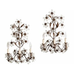 Antique Pair of French Crystal Flower Sconces, circa 1900