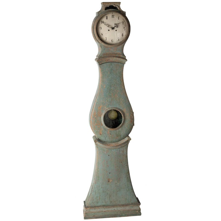 Swedish Rococo Period Mora Clock in Original Blue Paint, circa 1775 For Sale