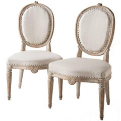 Pair of Gustavian Period Signed Stockholm Side Chairs, circa 1780