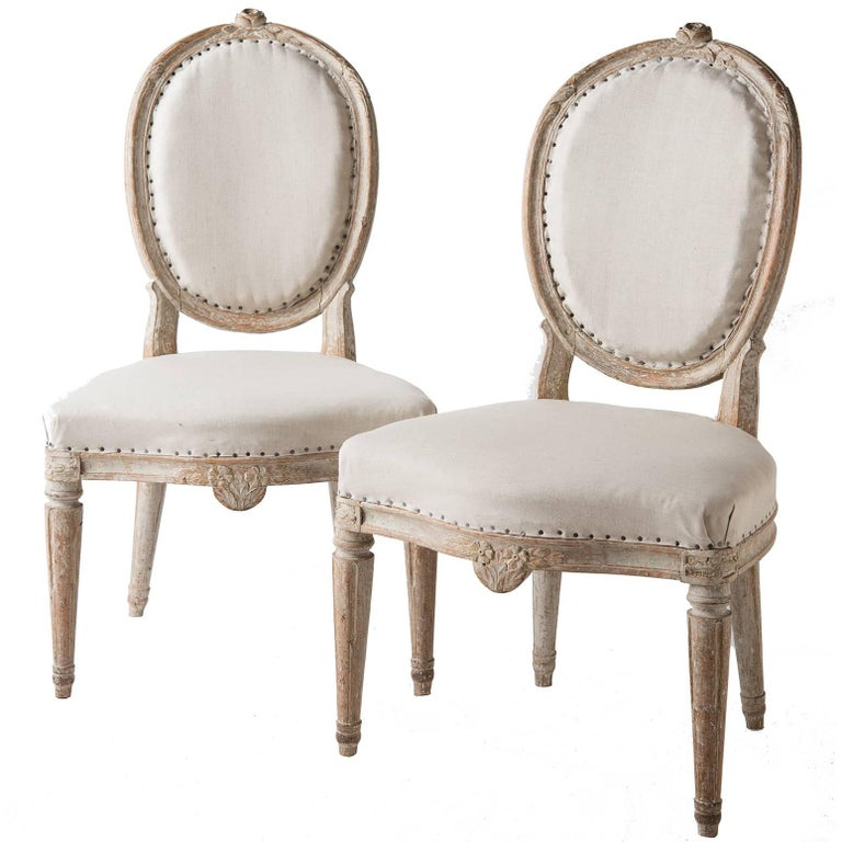 Pair of Gustavian Period Signed Stockholm Side Chairs, circa 1780 For Sale