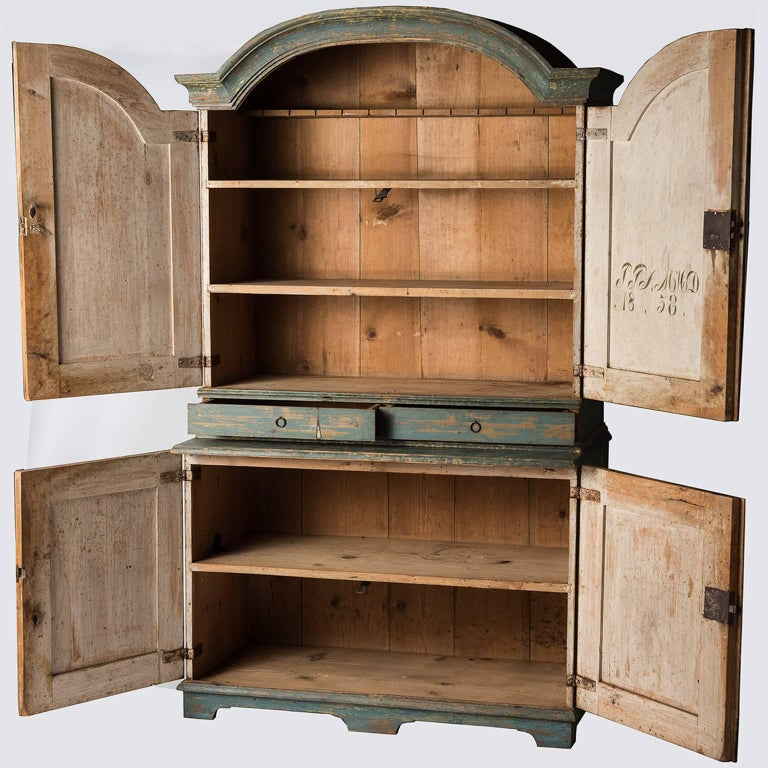 Swedish Blue Original Painted Cupboard, circa 1858 In Good Condition For Sale In New Preston, CT