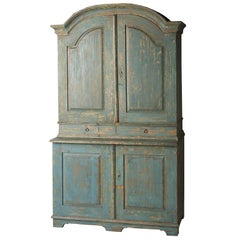 Swedish Blue Original Painted Cupboard, circa 1858