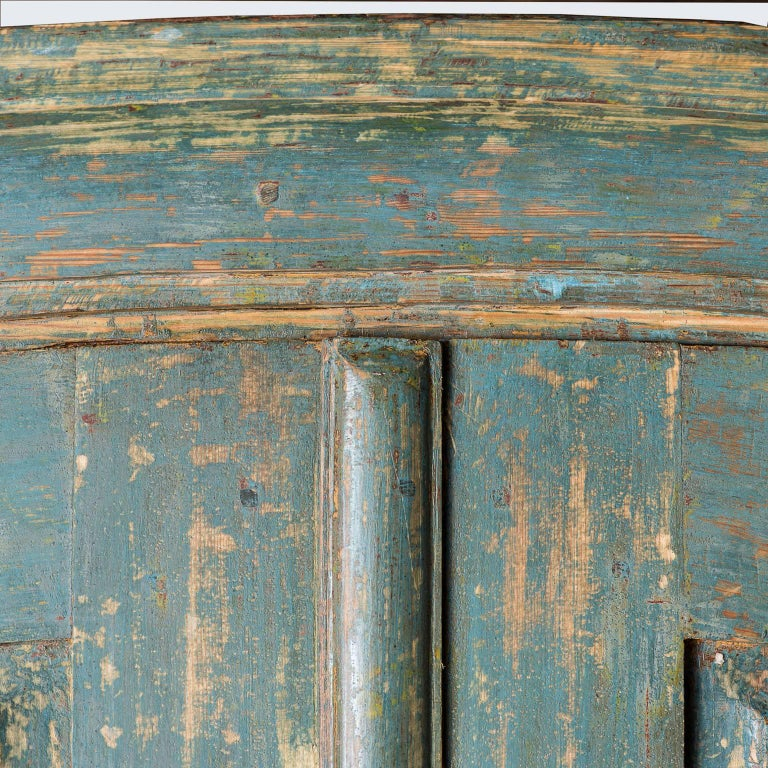 19th Century Swedish Blue Original Painted Cupboard, circa 1858 For Sale
