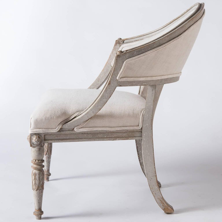 Pair of Swedish Gustavian Style Barrel Back Chairs, circa 1850 In Excellent Condition For Sale In New Preston, CT