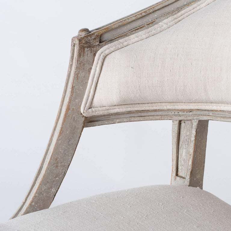 19th Century Pair of Swedish Gustavian Style Barrel Back Chairs, circa 1850 For Sale