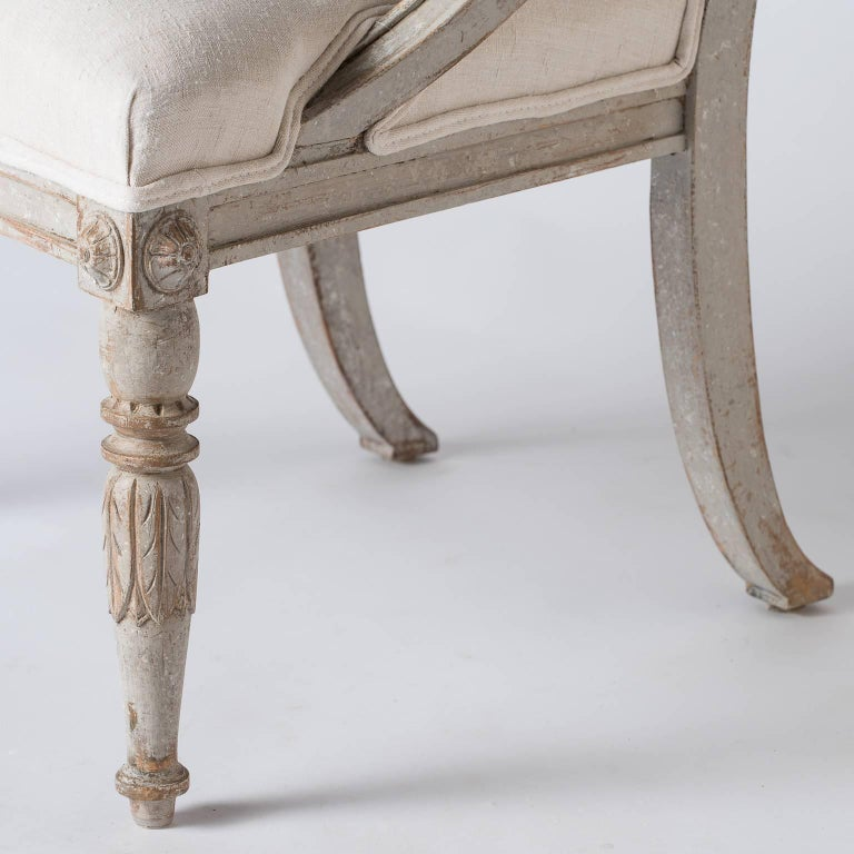 Pair of Swedish Gustavian Style Barrel Back Chairs, circa 1850 For Sale 1