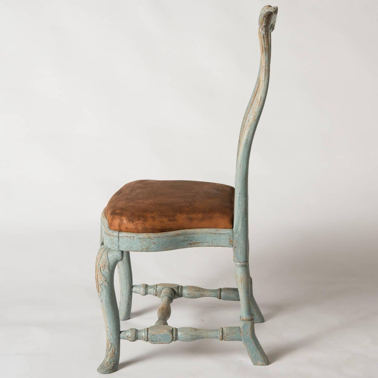 Pair of Early Blue Painted Rococo Side Chairs, circa 1750 For Sale 1