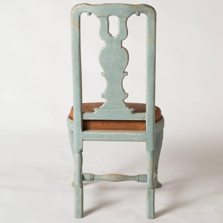 Pair of Early Blue Painted Rococo Side Chairs, circa 1750 For Sale 2