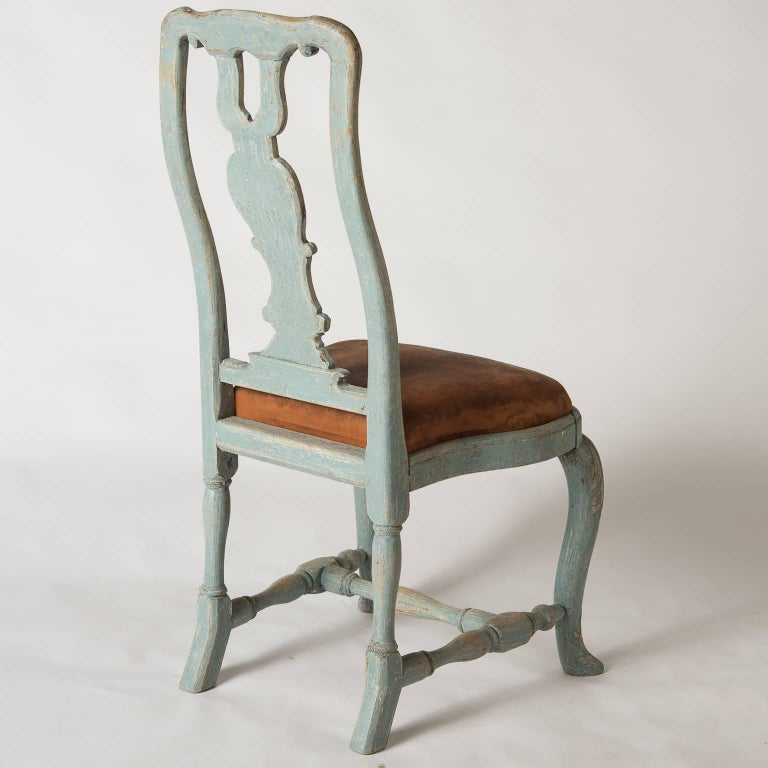 Pair of Early Blue Painted Rococo Side Chairs, circa 1750 For Sale 3