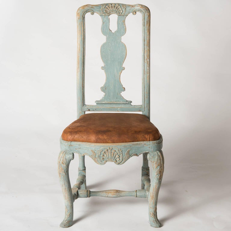 Leather Pair of Early Blue Painted Rococo Side Chairs, circa 1750 For Sale