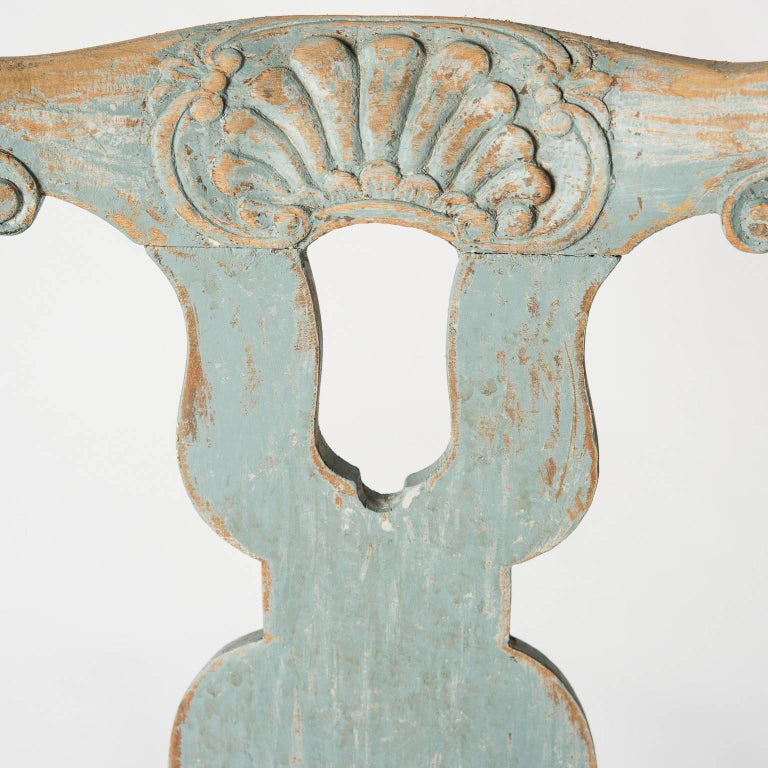 Swedish Pair of Early Blue Painted Rococo Side Chairs, circa 1750 For Sale