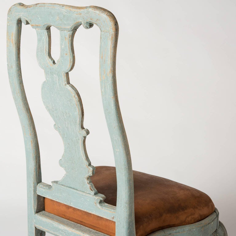Pair of Early Blue Painted Rococo Side Chairs, circa 1750 10