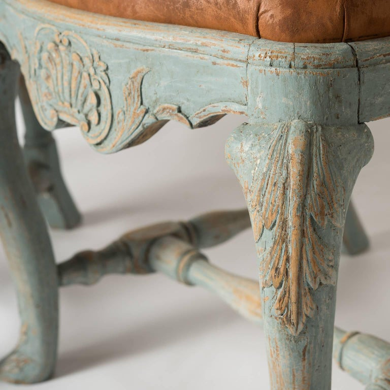 18th Century Pair of Early Blue Painted Rococo Side Chairs, circa 1750 For Sale