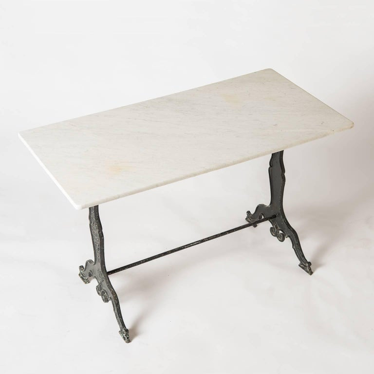 French Marble Topped Bistro Table With Art Nouveau Base, circa 1920 For Sale 2
