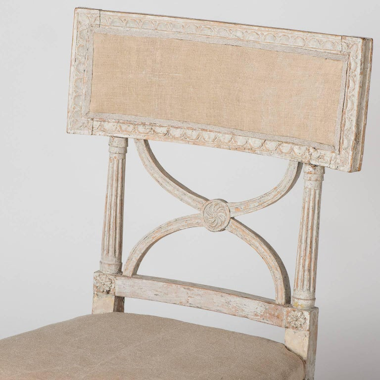 This style of chair was very popular in the late 18th early 19th century in Sweden. They were called Bellman chairs named after Carl Mikael Bellman, the very popular court musician to King Gustav III who played the lute. These chairs were probably