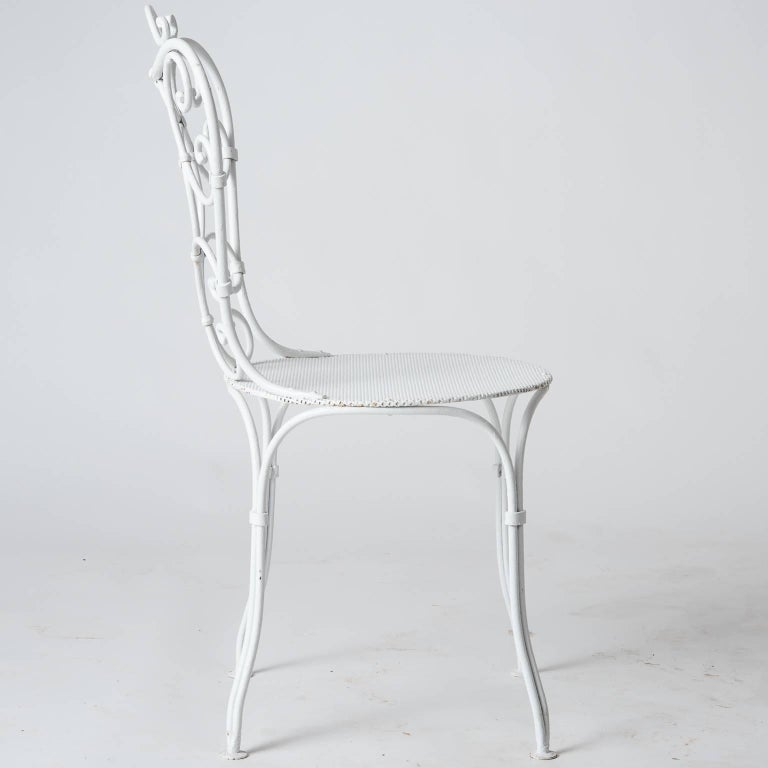 Set of Six French Wrought Iron Garden Chairs, circa 1940 For Sale 5