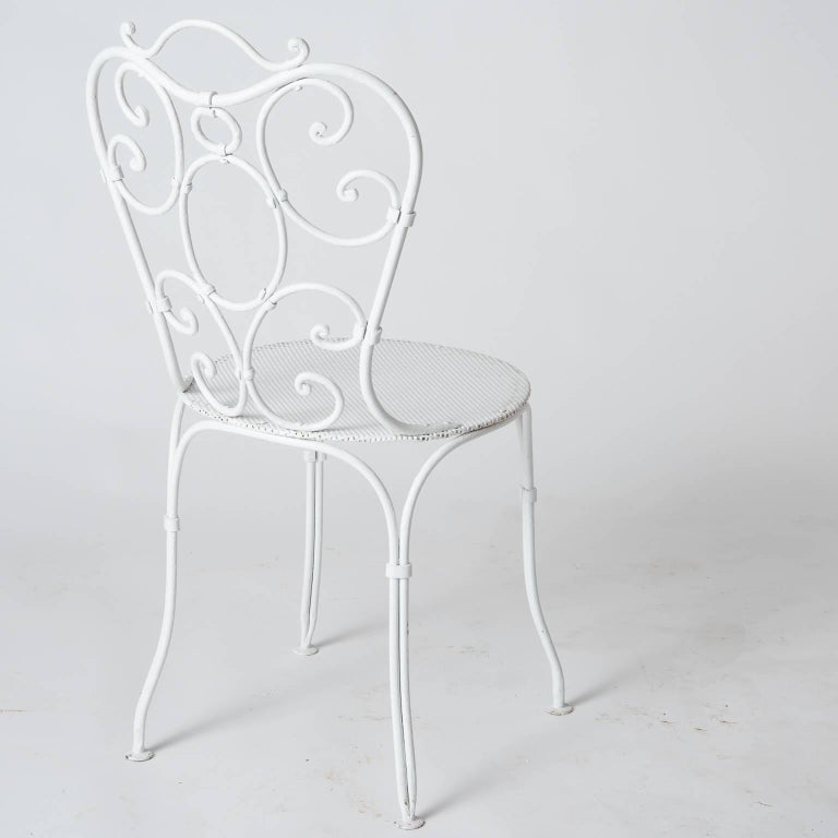 Set of Six French Wrought Iron Garden Chairs, circa 1940 For Sale 6