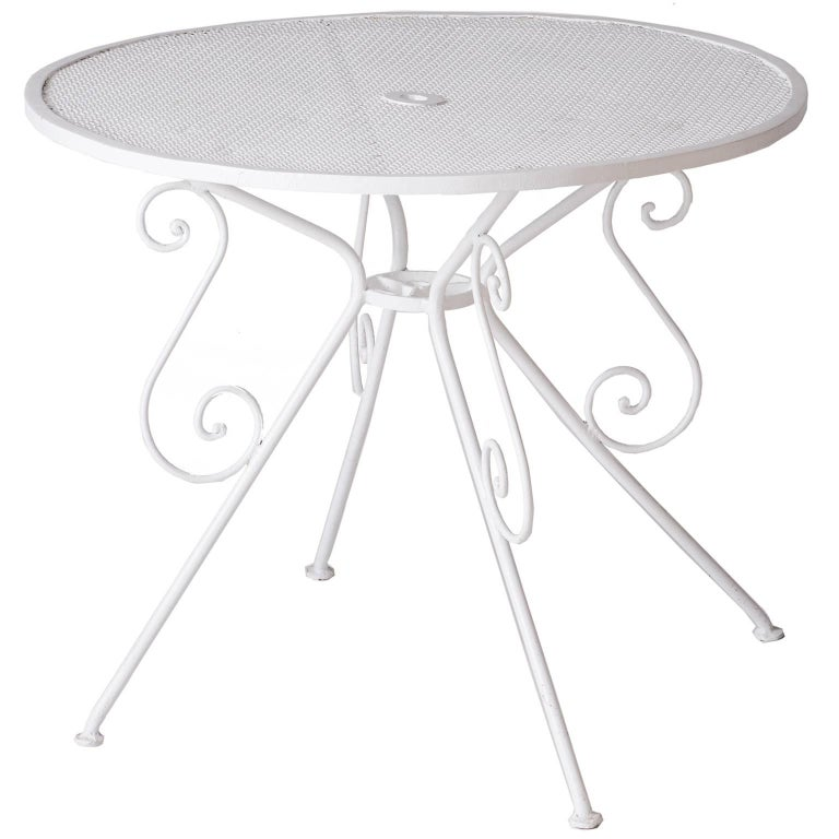 Small French White Painted Garden Table, circa 1950 For Sale
