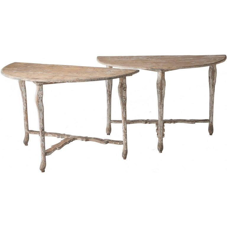 Pair of Late 18th Century Italian Demilune Tables For Sale