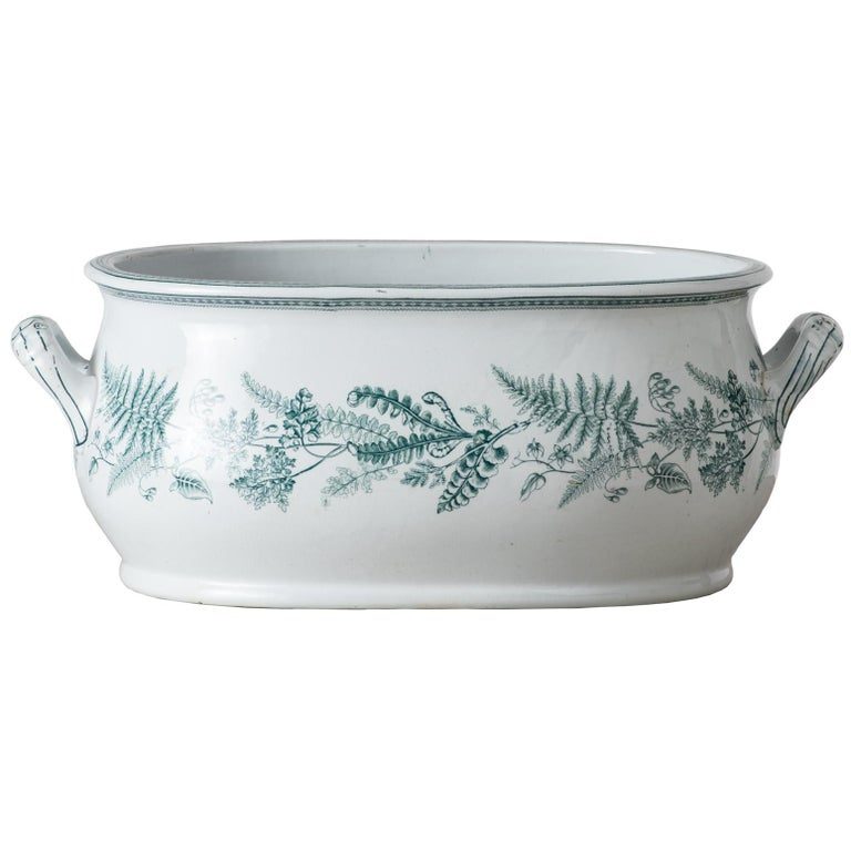 English Transferware Foot-Tub with Green Ferns, circa 1860 For Sale