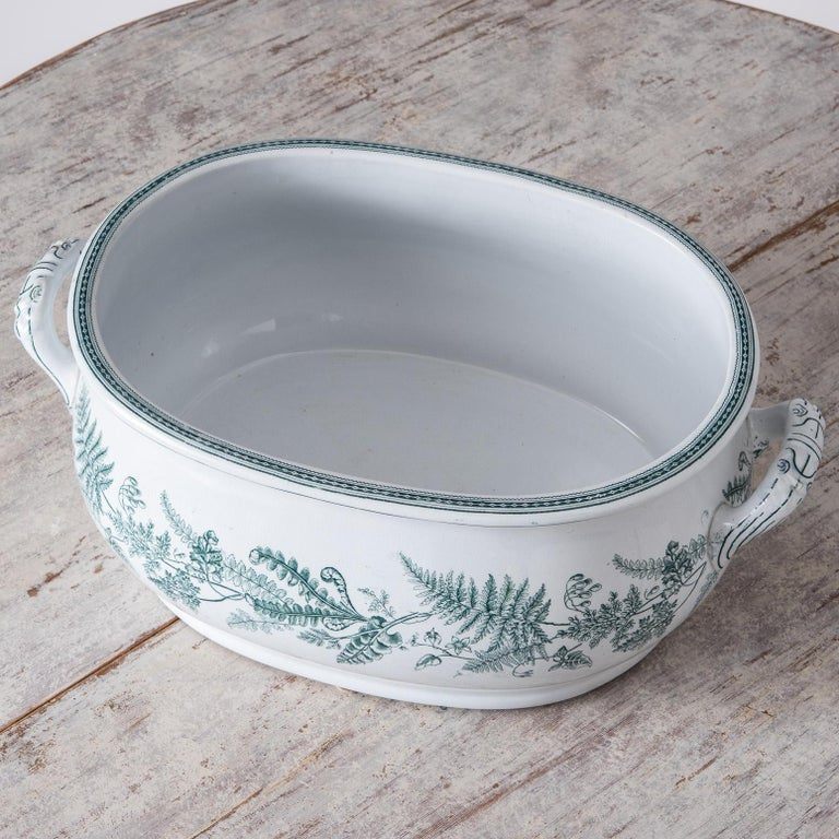 English Transferware Foot-Tub with Green Ferns, circa 1860 For Sale 2