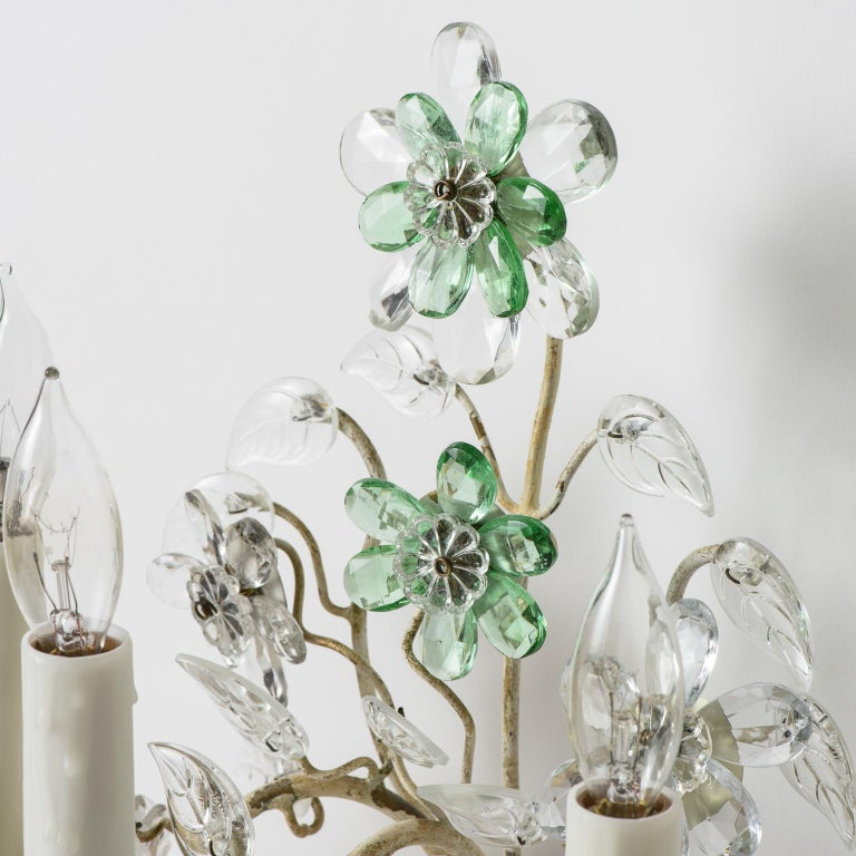 Pair of French Crystal Flowers Sconces, circa 1940 In Good Condition For Sale In New Preston, CT