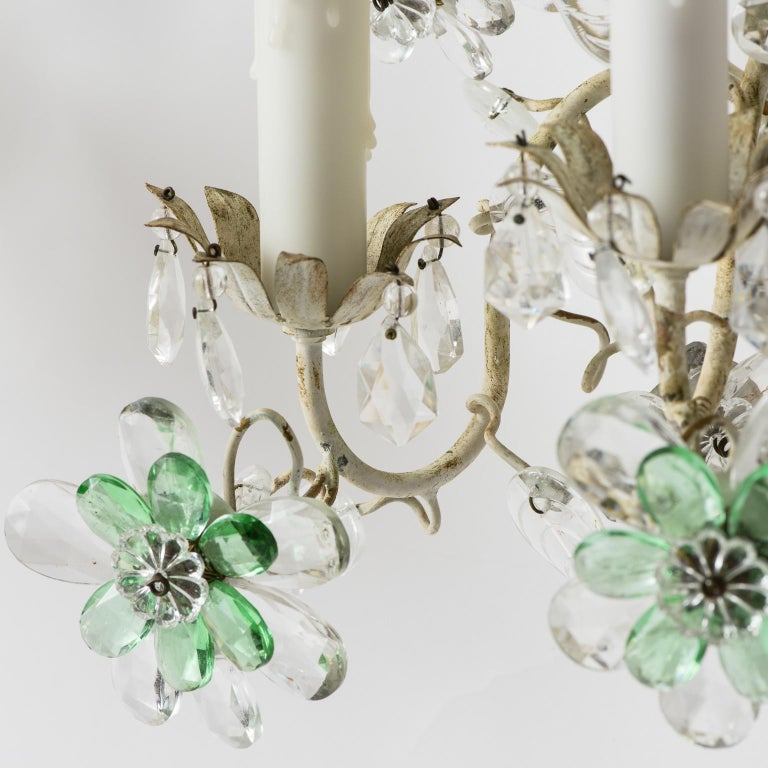 Pair of French Crystal Flowers Sconces, circa 1940 For Sale 1
