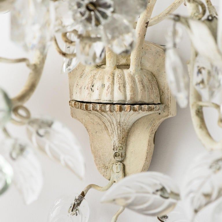 Pair of French Crystal Flowers Sconces, circa 1940 For Sale 2