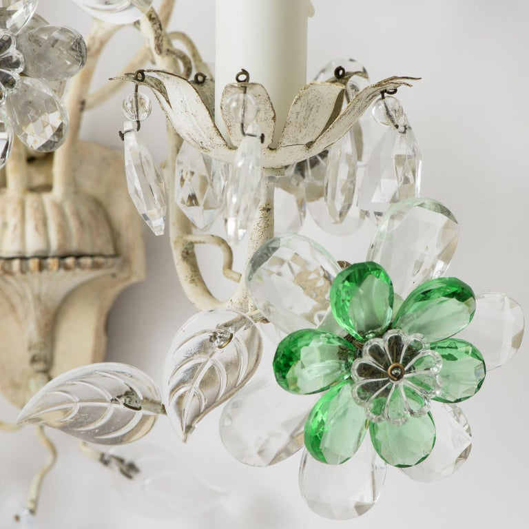 Pair of French Crystal Flowers Sconces, circa 1940 For Sale 3