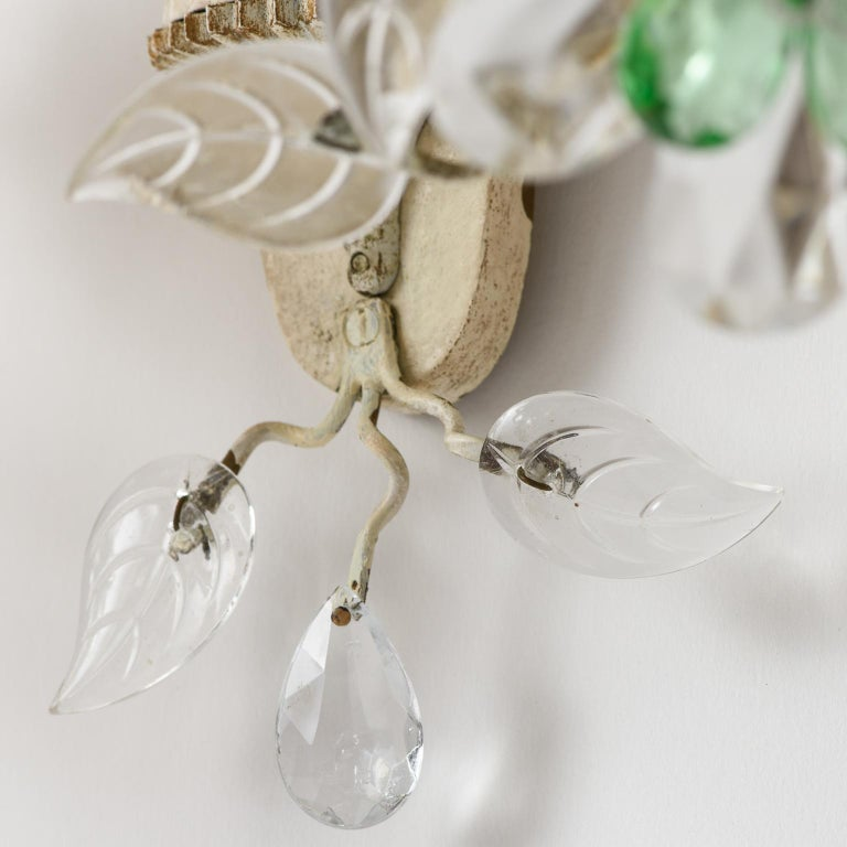 Pair of French Crystal Flowers Sconces, circa 1940 For Sale 4