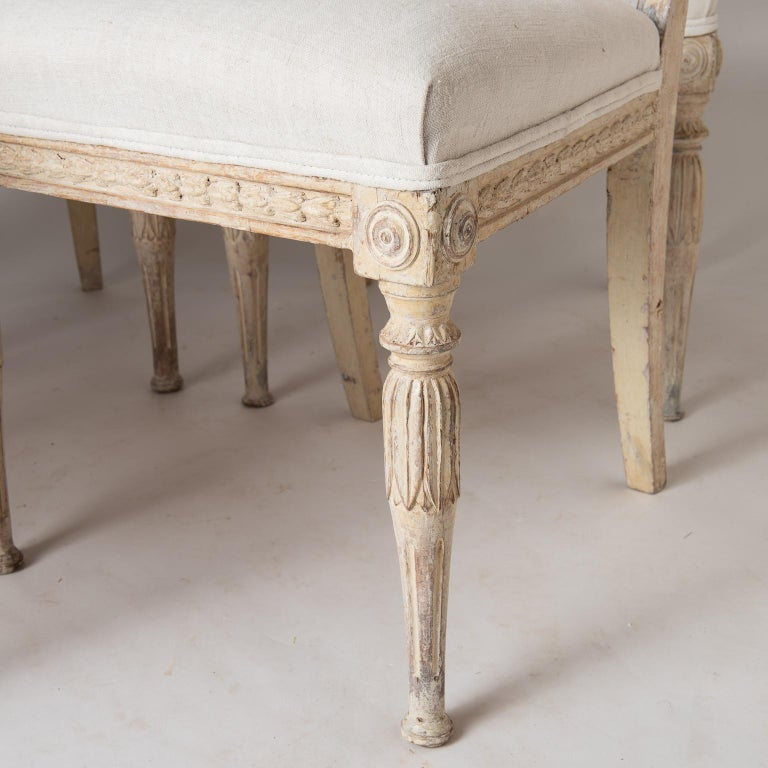 An Assembled Set of Six Swedish Late Gustavian Stockholm Dining Chairs For Sale 1