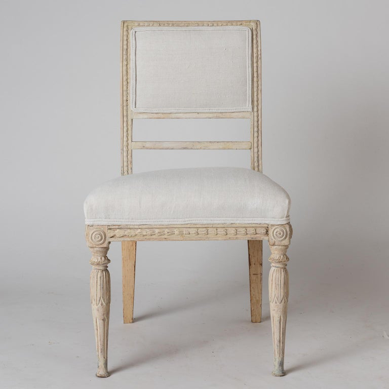 An Assembled Set of Six Swedish Late Gustavian Stockholm Dining Chairs For Sale 3