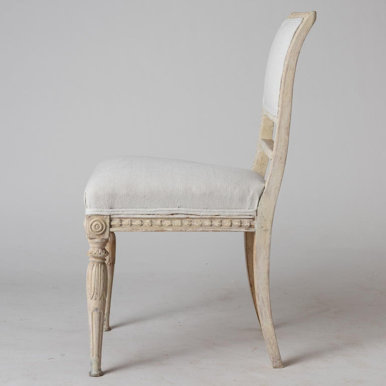 An Assembled Set of Six Swedish Late Gustavian Stockholm Dining Chairs For Sale 4