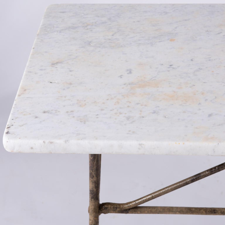 19th Century French Marble Top Table with Handwrought Iron Base In Good Condition For Sale In New Preston, CT