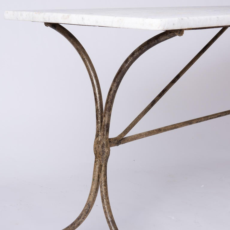 19th Century French Marble Top Table with Handwrought Iron Base For Sale 1