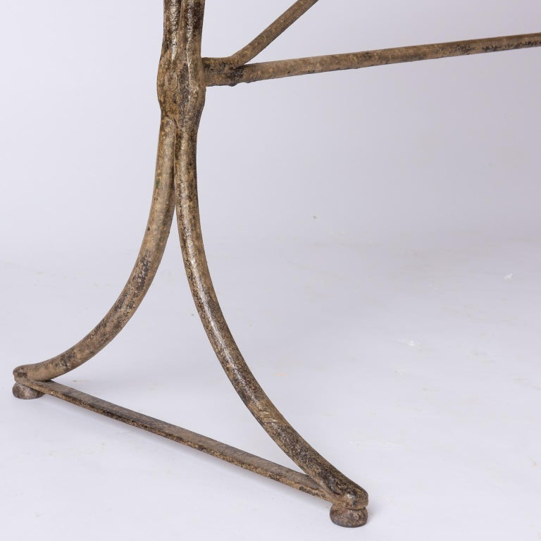 19th Century French Marble Top Table with Handwrought Iron Base For Sale 2