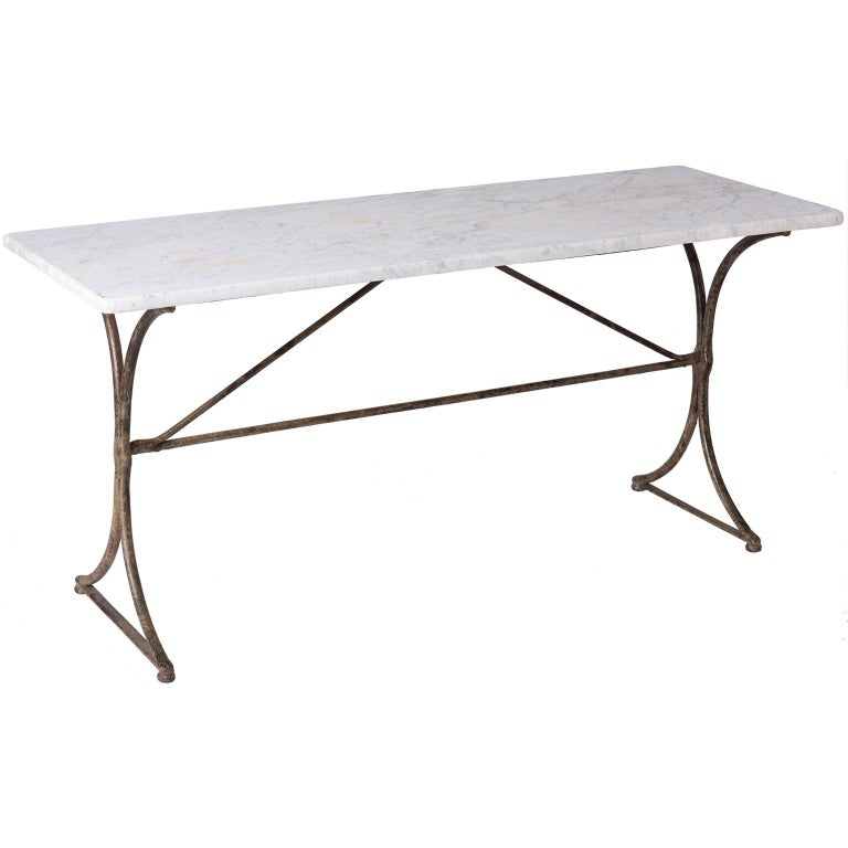 19th Century French Marble Top Table with Handwrought Iron Base For Sale