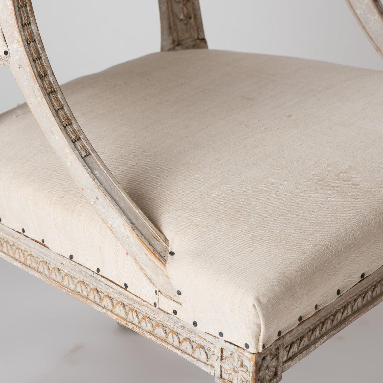 Pair of Swedish Gustavian Style Barrel Back Chairs with Hoof Feet, circa 1880 For Sale 1