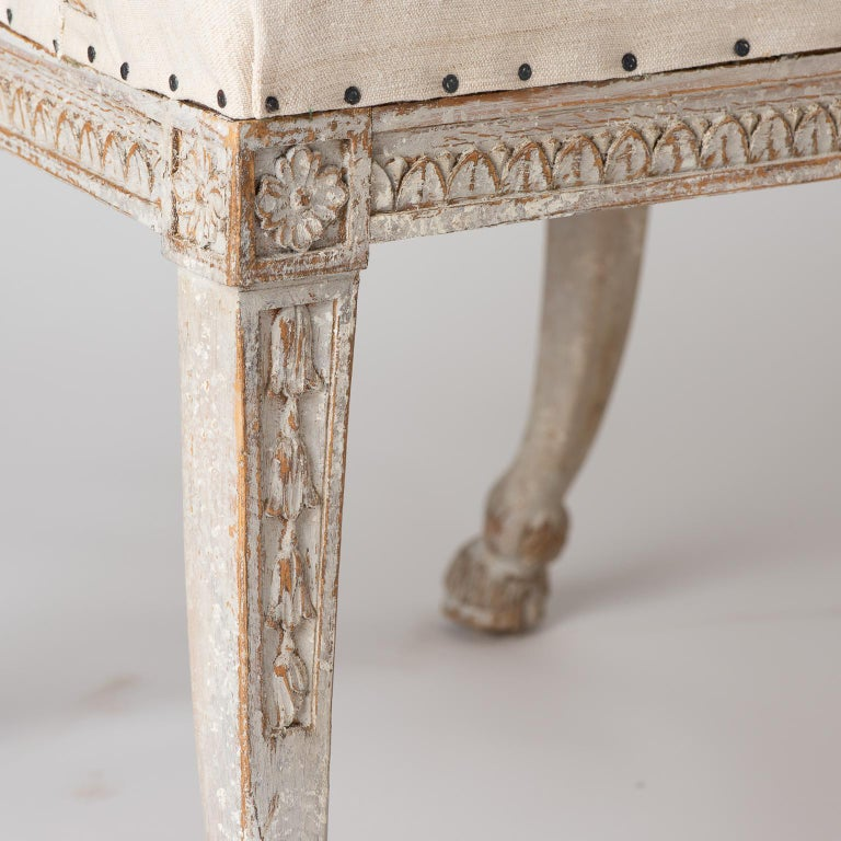 Pair of Swedish Gustavian Style Barrel Back Chairs with Hoof Feet, circa 1880 For Sale 2