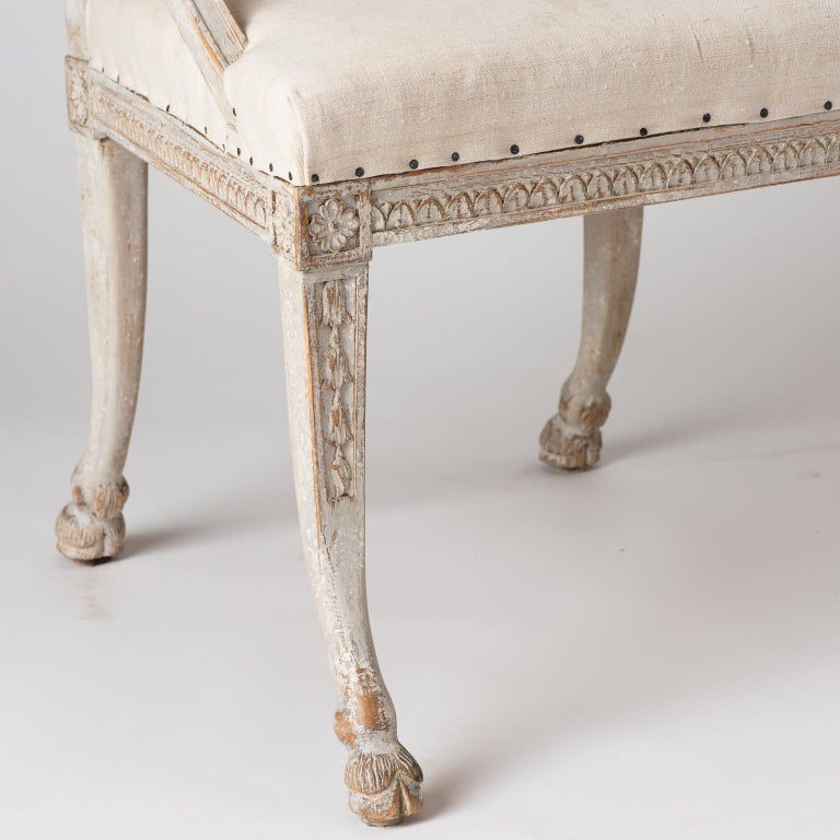Pair of Swedish Gustavian Style Barrel Back Chairs with Hoof Feet, circa 1880 For Sale 3