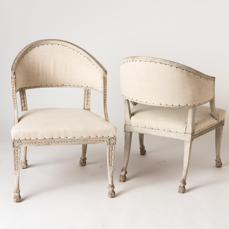 Pair of Swedish Gustavian Style Barrel Back Chairs with Hoof Feet, circa 1880 For Sale 5