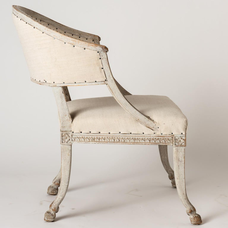 Pair of Swedish Gustavian Style Barrel Back Chairs with Hoof Feet, circa 1880 For Sale 6